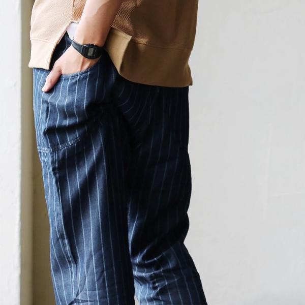 ガーデンパンツ 紐 ゴム ストライプ デニム リヨセル コットン 家庭洗濯 カジュアル ブルーストライプ インディゴストライプ メンズ  grn|mr-lunberjack|05