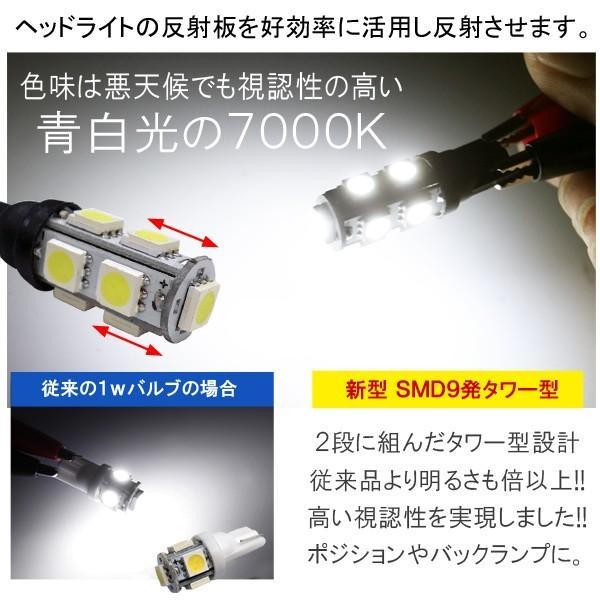 T10 T16 ポジションランプ LED 9灯 次世代改良版 超 拡散型 2個セット ホワイト ブルー|mr-store|02
