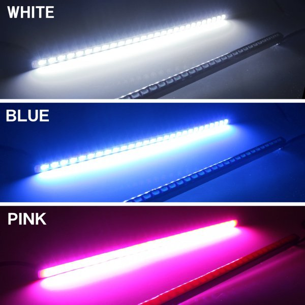 LED デイライト 27灯 2本セット ホワイト ブルー ピンク 埋め込み 極細 汎用|mr-store|02