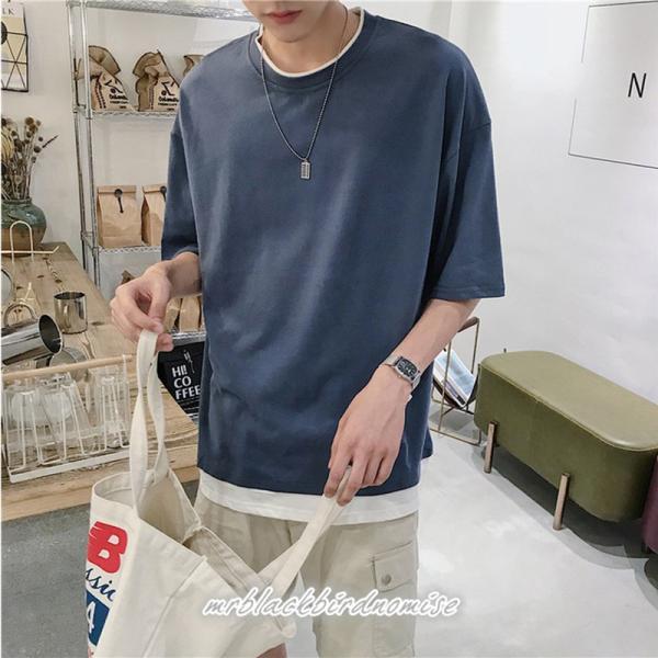 Tシャツ メンズ クールネック 七分丈 7分袖 カットソー トップス 大きいサイズ カジュアル おしゃれ 夏 白シャツ|mrblackbirdnomise|02