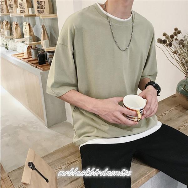 Tシャツ メンズ クールネック 七分丈 7分袖 カットソー トップス 大きいサイズ カジュアル おしゃれ 夏 白シャツ|mrblackbirdnomise|03
