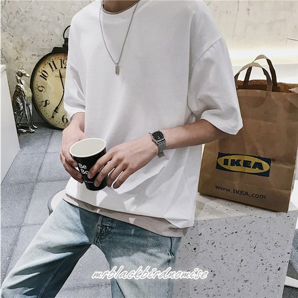 Tシャツ メンズ クールネック 七分丈 7分袖 カットソー トップス 大きいサイズ カジュアル おしゃれ 夏 白シャツ|mrblackbirdnomise|04