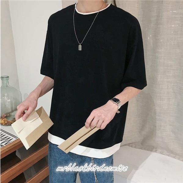 Tシャツ メンズ クールネック 七分丈 7分袖 カットソー トップス 大きいサイズ カジュアル おしゃれ 夏 白シャツ|mrblackbirdnomise|05