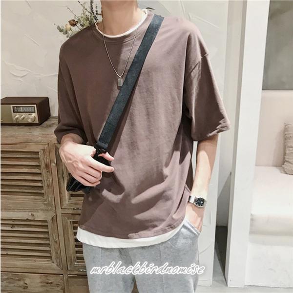 Tシャツ メンズ クールネック 七分丈 7分袖 カットソー トップス 大きいサイズ カジュアル おしゃれ 夏 白シャツ|mrblackbirdnomise|06