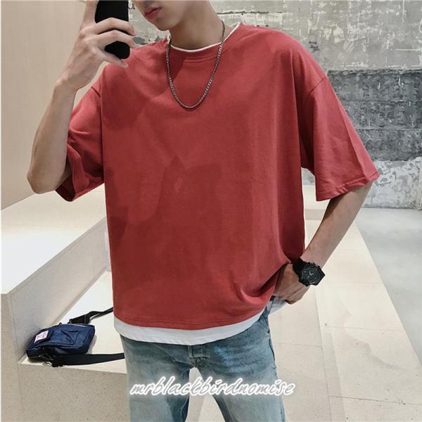 Tシャツ メンズ クールネック 七分丈 7分袖 カットソー トップス 大きいサイズ カジュアル おしゃれ 夏 白シャツ|mrblackbirdnomise|08
