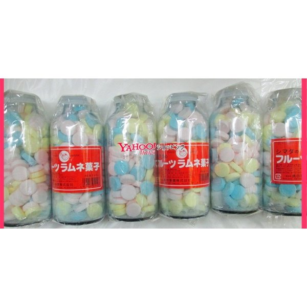 YC島田製菓 250グラム【目安として約107粒】  シマダ フルーツ大瓶 固形ラムネ菓子×7瓶 +税 【7h】