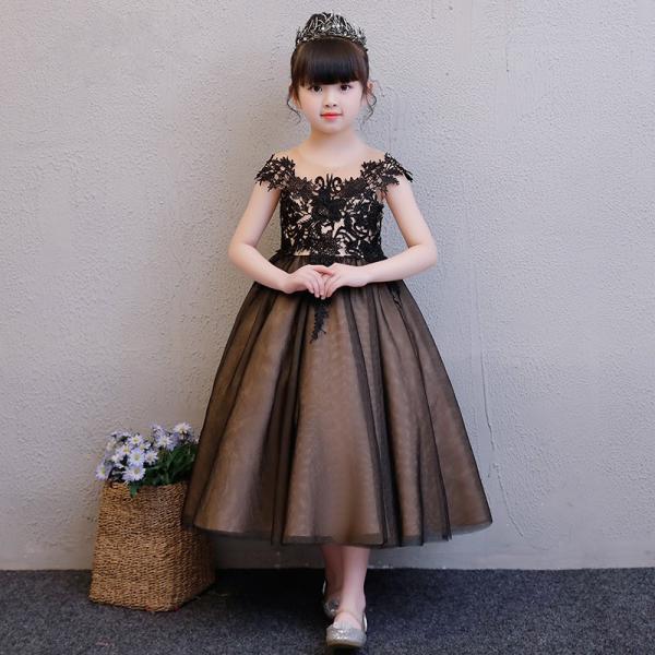 8b2b3fb7e32cd 子供ドレス ピアノ発表会 ロング 結婚式 キッズ フォーマルドレス 子どもドレス ジュニアドレス 黒 ...