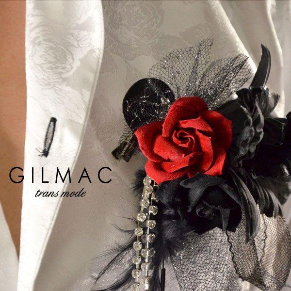 コサージュ 薔薇 フェザー 黒レースリボン ブローチ コサージュ 日本製 結婚式 ホスト メンズ(レッド赤ブラック黒) k1705
