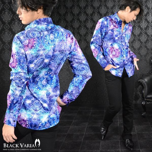 サテンシャツ 幾何学模様柄 宝石 ドゥエボットーニ 日本製 ジャガード スナップダウン 光沢 メンズ パーティー ドレスシャツ(ブルー青) 171316 mroutlet 03