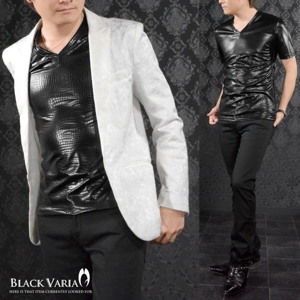 Tシャツ クロコダイル メンズ Vネック 光沢 メタリック 日本製 半袖Tシャツ(ブラック黒) 173308|mroutlet|06