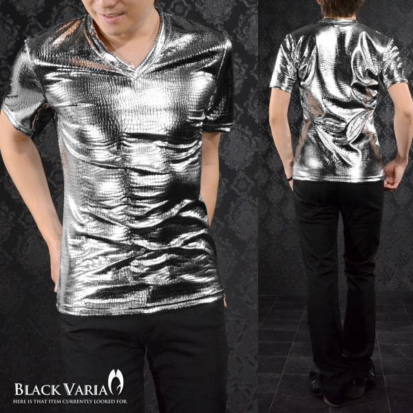 Tシャツ クロコダイル メンズ Vネック 光沢 メタリック 日本製 半袖Tシャツ(シルバー銀 箔) 173308|mroutlet|02