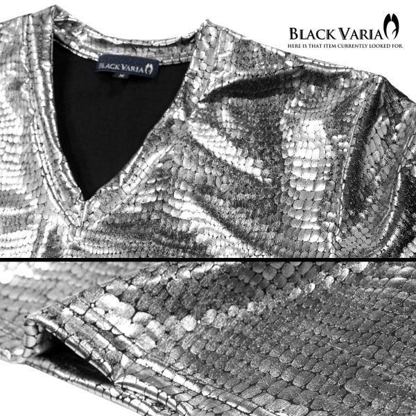 Tシャツ クロコダイル メンズ Vネック 光沢 メタリック 日本製 半袖Tシャツ(シルバー銀 箔) 173308|mroutlet|05