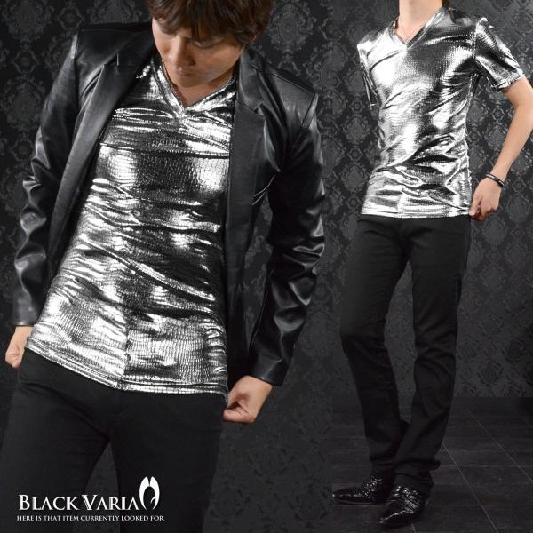Tシャツ クロコダイル メンズ Vネック 光沢 メタリック 日本製 半袖Tシャツ(シルバー銀 箔) 173308|mroutlet|06