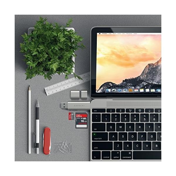 Satechi Type-Cデバイス対応 アルミニウム Type-C USB 3.0とMicro/SDカードリーダー (シルバー)|ms-online|06