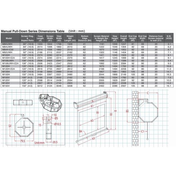 エリートスクリーン正規代理店 4K/3D/フルHD対応 150インチ 手動式プロジェクタースクリーン M150UWH2 16:9  ブラックケース