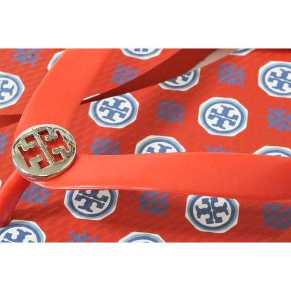 トリーバーチ ビーチサンダル ロゴプレート付き 赤 TORY BURCH FLIP FLOP US8 PVC ビーサン サンダル レディース SANDAL 新品