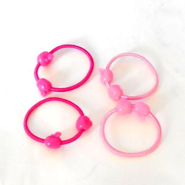 ジュニア ヘヤゴム 可愛いピンク リンゴデザイン ピンク系 デザイン かわいい ゴム 2本組 h-g260 yy