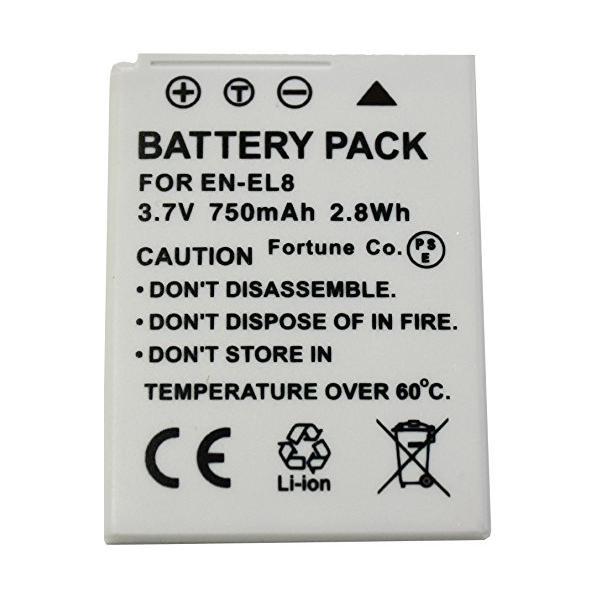 NinoLite EN-EL8 互換 バッテリー ニコン CoolPix S52c S52 S51c S51 S50c S50 S8 S7C S7 S6 等対応 enel8_t.k.gai