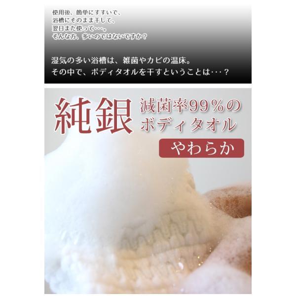 ボディタオル 日本製 2枚セット 抗菌防臭 純銀 肌触り やわらか (300050)(yz)|msstore-1147|02
