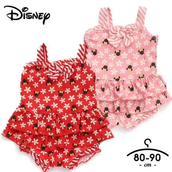 水着女子 子供 ディズニー 水着 女の子 ワンピース 80cm 90cm ベビー キッズ フリル かわいい 赤 ピンク リボン アンパサンド コラボ ディズニー 保育園 夏