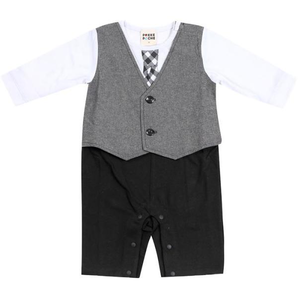 68ceb6183b84a ... 男の子ベビー フォーマル カバーオール ロンパース フェイクベスト 長袖 子供用(結婚式 新生児 赤ちゃん ネクタイ ...