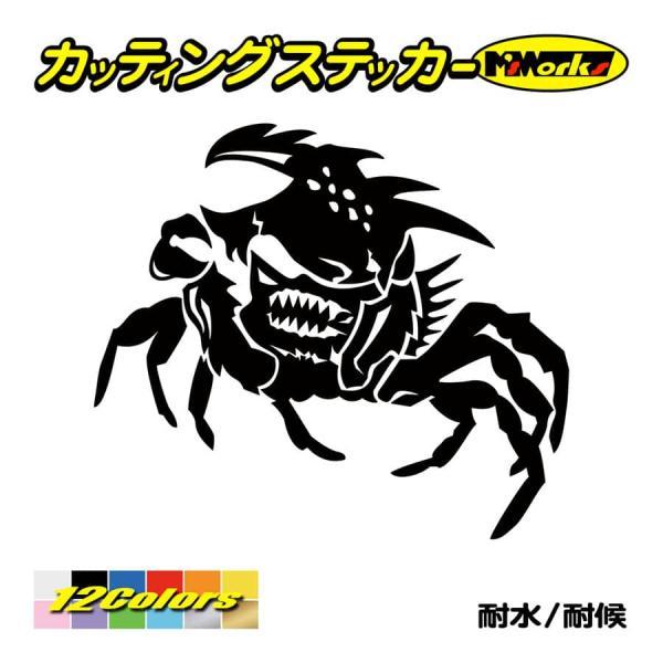車 バイク ステッカー 〜 カニ(蟹) ガザミ crab トライバル ・5(左) 〜 かっこいい タンク カウル フェンダー サイドガラス