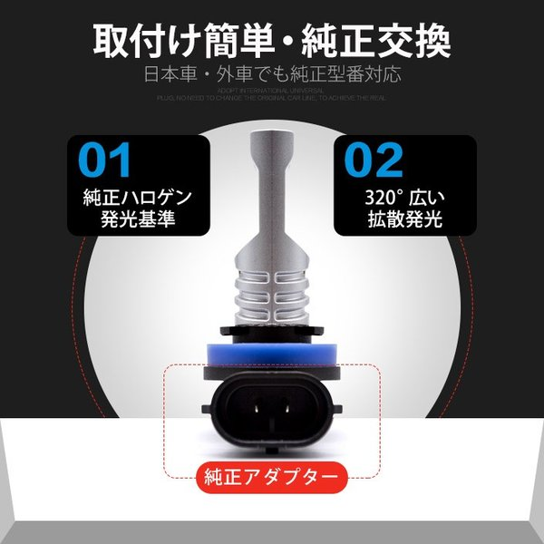 LEDバルブ フォグランプ H7 H8 H11 HB3 HB4 800LM 30W 12V 24V ライト(LED-10G)|mtkshop|06