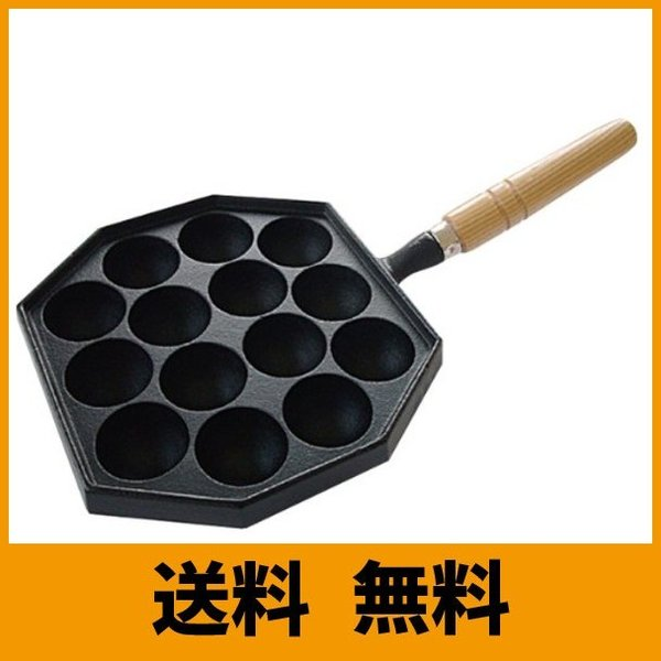 岩鋳 Iwachu たこ焼器14穴(木柄付) IH対応 南部鉄器 90030|mtmarket