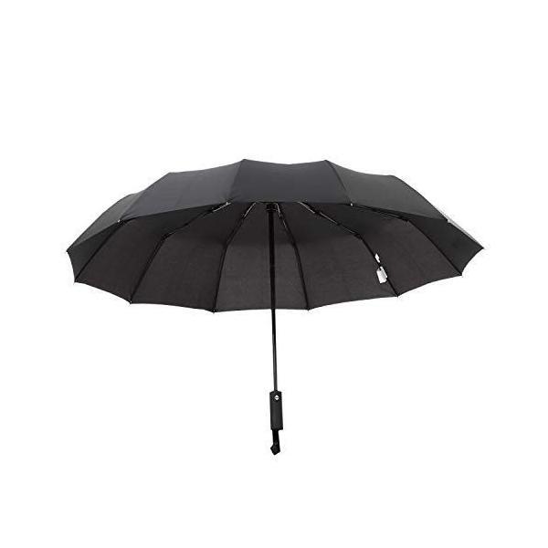 Coottie 圧倒的大きさ120cm12本骨折りたたみ傘折りたたみ傘自動開閉軽量収納ポーチ付き(ブラック)