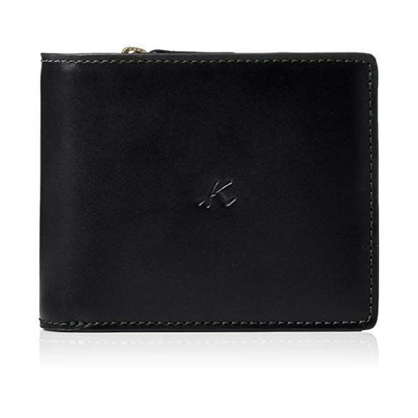 キタムラ 二折財布ZH0379ブラック/ダークグリーンステッチ 黒 15321