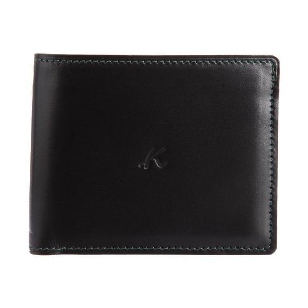 キタムラ 財布二折財布ZH0072ブラック/ダークグリーンステッチ 黒 15321