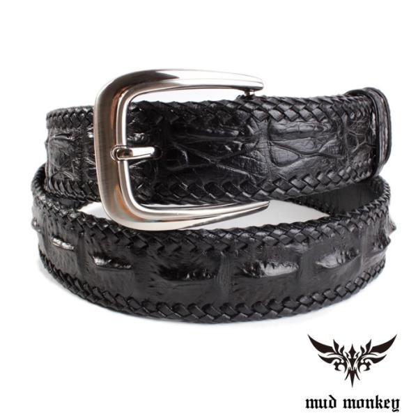 ベルト メンズ 革/クロコダイル・ブラック/ホーンバック黒レース編み|mudmonkey