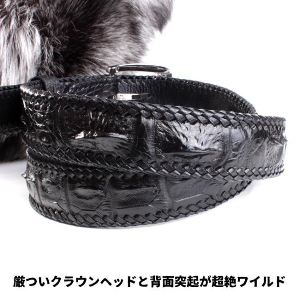 ベルト メンズ 革/クロコダイル・ブラック/ホーンバック黒レース編み|mudmonkey|02