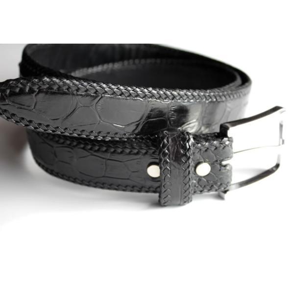 ベルト メンズ 革/クロコダイル・ブラック/ホーンバック黒レース編み|mudmonkey|04