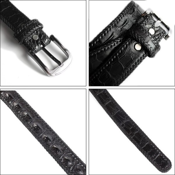 ベルト メンズ 革/クロコダイル・ブラック/ホーンバック黒レース編み|mudmonkey|05