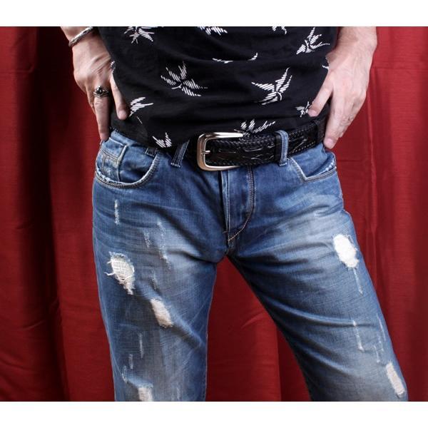 ベルト メンズ 革/クロコダイル・ブラック/ホーンバック黒レース編み|mudmonkey|06
