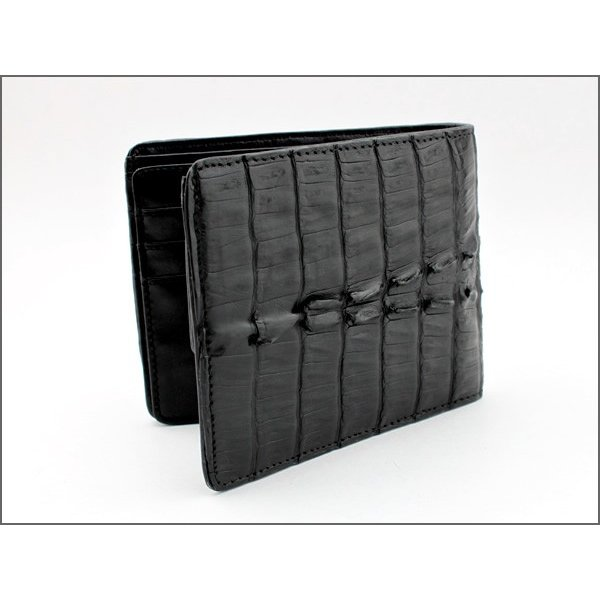 二つ折り財布 カイマンクロコ/黒イタリアンレザー仕様|mudmonkey|04