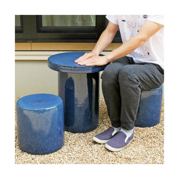 [ポイント10倍]信楽焼 ガーデンテーブル 3点 セット 生子 紫 15号 [テーブル×1 椅子×2] 陶器 雨ざらしOK スツール付 バーベキュー おしゃれ(MA131-05G)