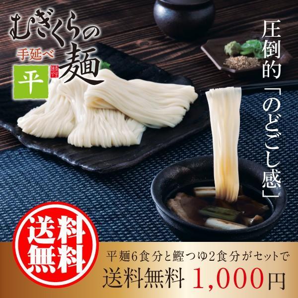 ポイント消費 むぎくらの麺 平麺 お試しセット 6人前 つゆ付 (80g×6束)つけ麺 素麺 そうめん 1000円 きつね たぬき 山菜 肉 送料無料