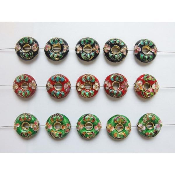 七宝焼き ドーナツ型 5個1組 訳有り アウトレット ビーズ パーツ ハンドメイド アクセサリーパーツ 手芸