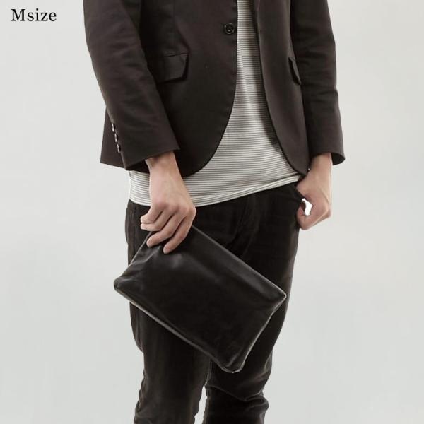 クラッチバッグ メンズ 小さめ 本革 レザー  ビジネス 結婚式 ブラック|mura|03