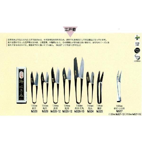美鈴ハサミ 御はさ美(糸切はさみ)江戸菊 イブシ 105mm 長刃/短刃 526