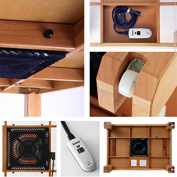 キャスター付き こたつ テーブル トリニティ 105x75cm 長方形 コタツ ローテーブル muratakagu 03