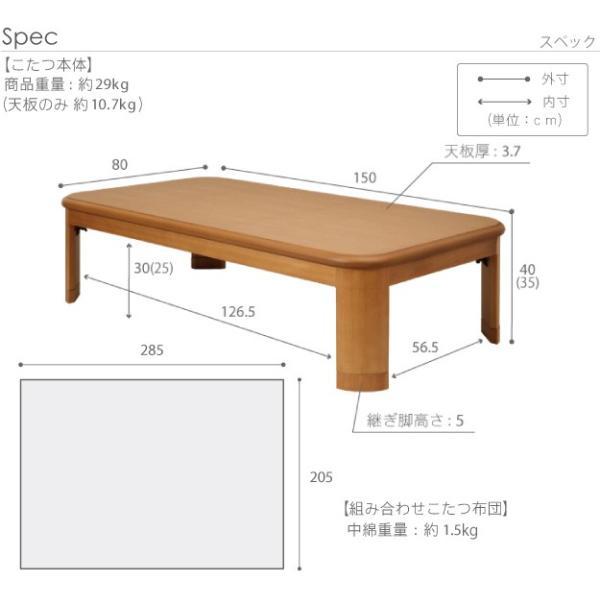 こたつ テーブル 大判サイズ 継脚付きフラットヒーターこたつ フラットリラ 150x80cm+国産北欧柄こたつ布団 2点セット 国産 muratakagu 03