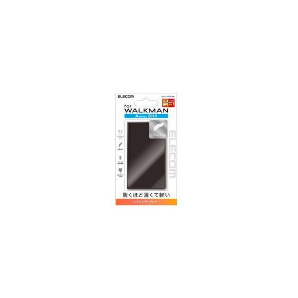 エレコム WALKMAN A50用薄型レザーケース AVS-A18PLFUBK ブラックの画像