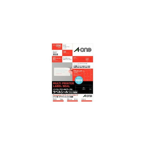 A・one エーワン  パソコンプリンタ&ワープロラベルシール[プリンタ兼用] 100シート(1200片) 28312