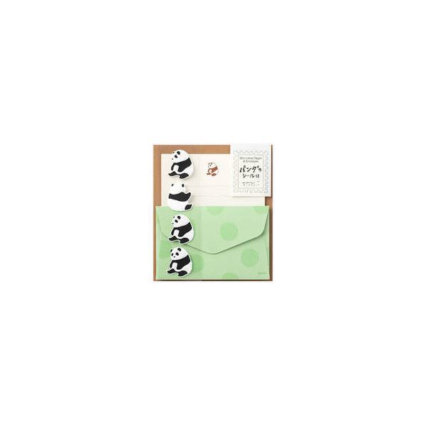 MIDORI/ミドリ  ミニレターセット シール付 パンダ柄 86307006