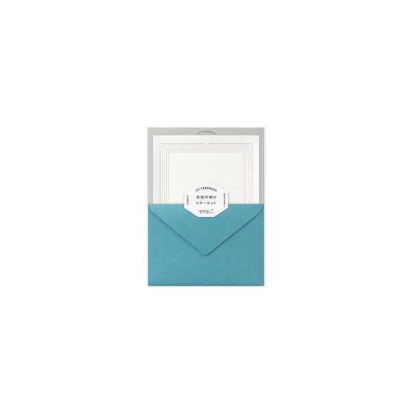 MIDORI/ミドリ  レターセット 活版 フレーム柄 青 86463006