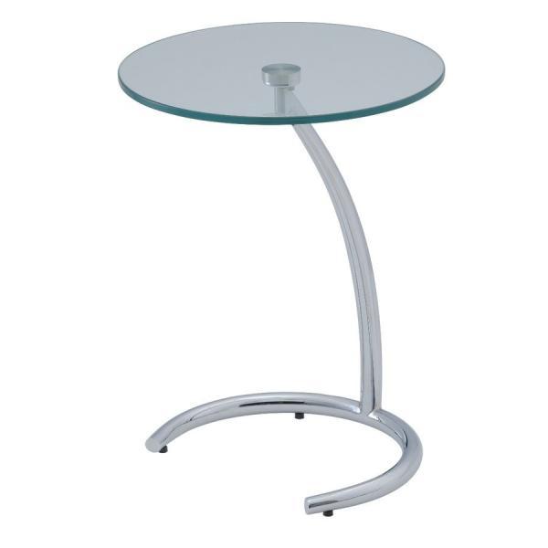 サイドテーブルガラス丸テーブルシンプルおしゃれクルーナGLASSTOP40cm丸高さ53cm