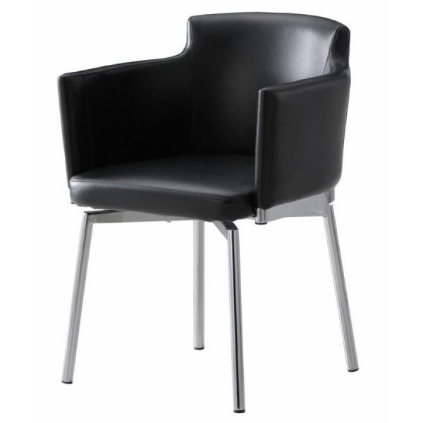 ダイニングチェア 椅子 イス 回転チェア 肘付き ハッセルト3 ラウンドアームチェア ブラック 360度 回転 黒 murauchikagu